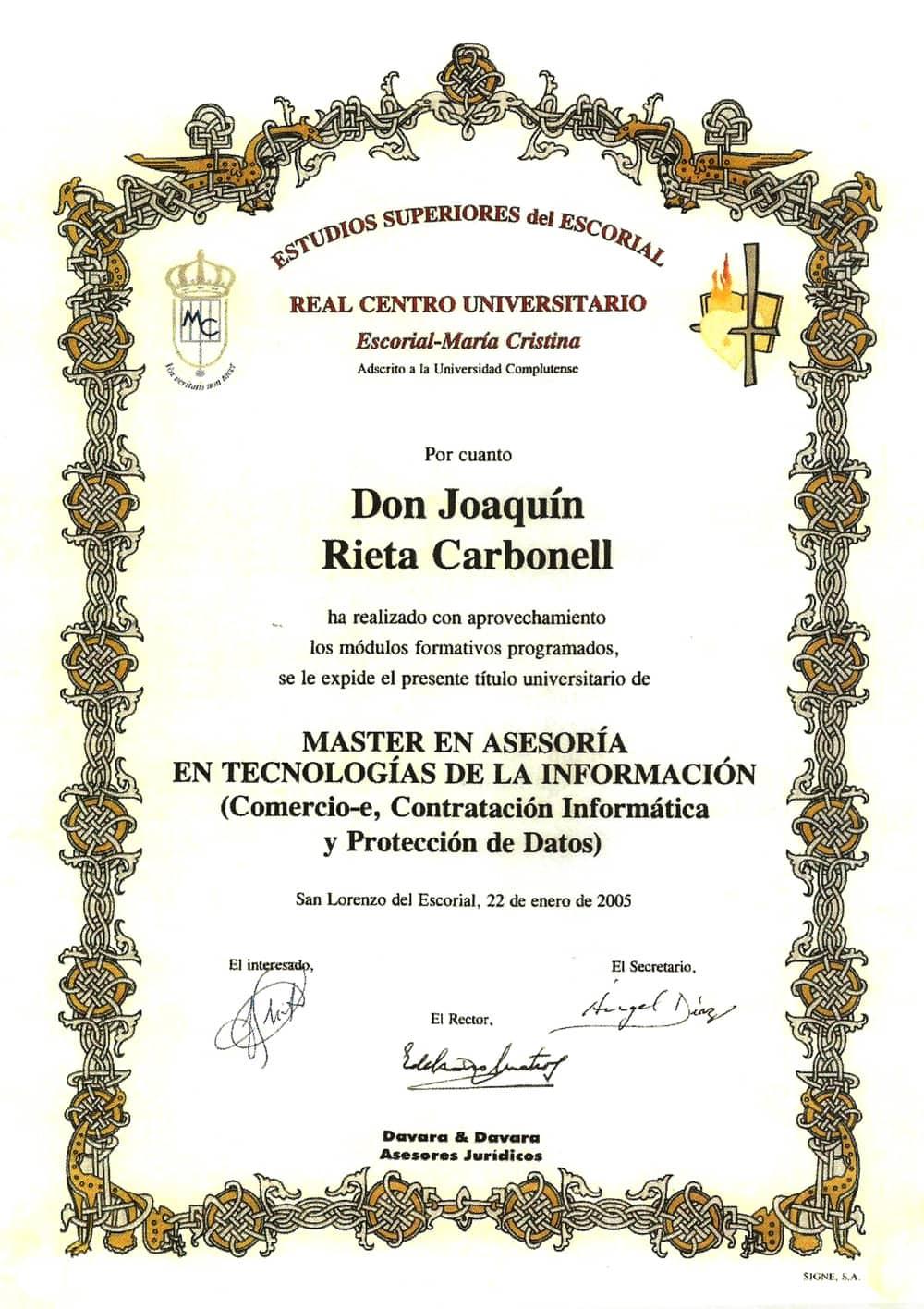 Máster en Asesoría en Tecnologías de la Información, protección de datos, contratación informática y comercio electrónico
