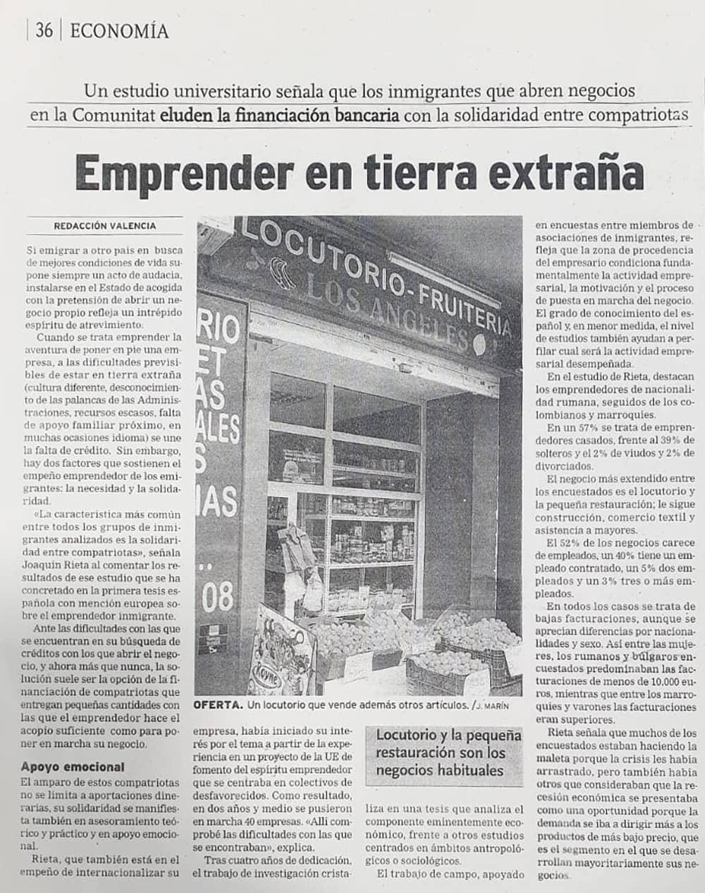 Comportamiento emprendedor del extranjero en España